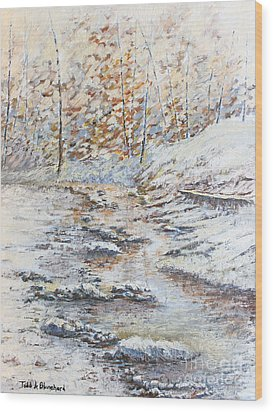 Winter River Wood Print by Todd A Blanchard