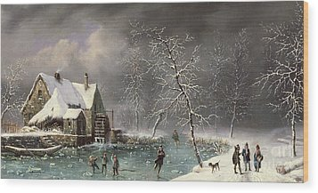 Winter Scene Wood Print by Louis Claude Mallebranche