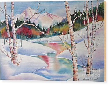 Winter's Light Wood Print by Deborah Ronglien