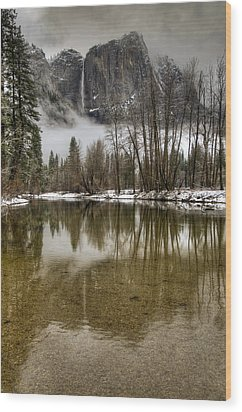Wintery Upper And Lower Yosemite Falls  Wood Print by Connie Cooper-Edwards