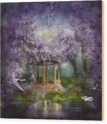 Wisteria Lake Wood Print by Carol Cavalaris