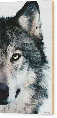 Wolf Art - Timber Wood Print by Sharon Cummings