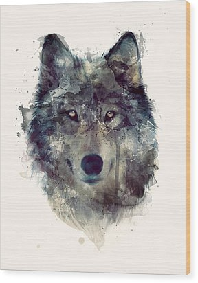 Wolf // Persevere Wood Print by Amy Hamilton