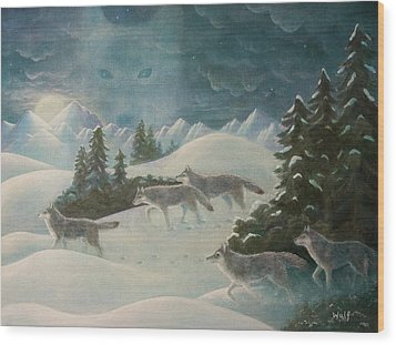 Wolfspirit Wood Print by Bernadette Wulf