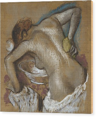 Woman Washing Her Back With A Sponge Wood Print by Edgar Degas