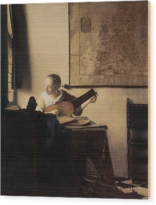 Woman With A Lute Wood Print by Jan Vermeer