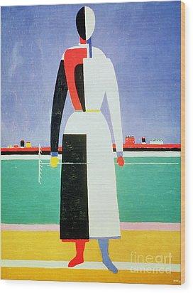 Woman With A Rake Wood Print by Kazimir Severinovich Malevich