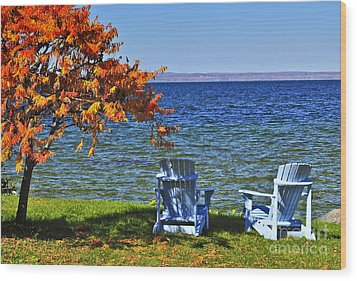Wooden Chairs On Autumn Lake Wood Print by Elena Elisseeva