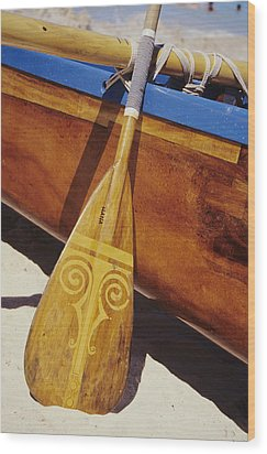 Wooden Paddle And Canoe Wood Print by Joss - Printscapes