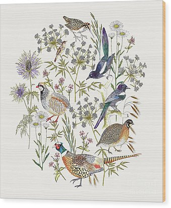 Woodland Edge Birds Placement Wood Print by Jacqueline Colley