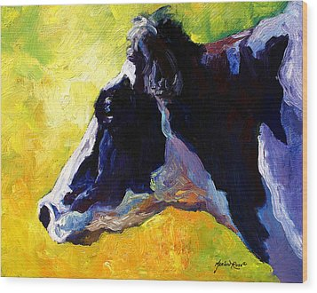 Working Girl - Holstein Cow Wood Print by Marion Rose
