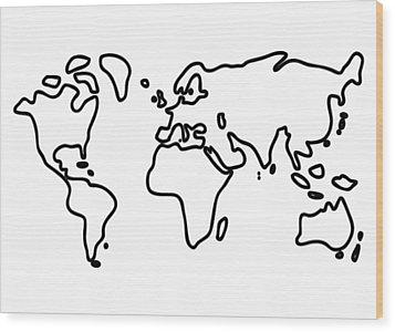 World Globe Wood Print by Lineamentum