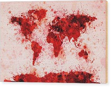 World Map Paint Splashes Red Wood Print by Michael Tompsett