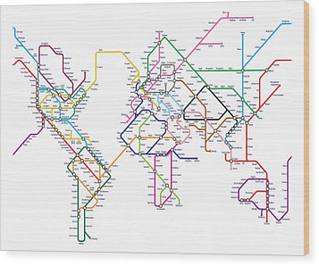World Metro Tube Map Wood Print by Michael Tompsett