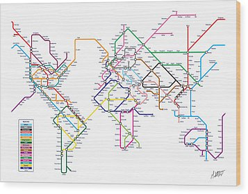 World Metro Tube Subway Map Wood Print by Michael Tompsett