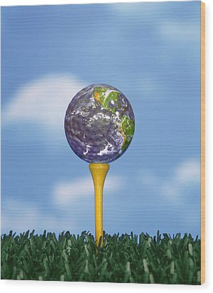 World Teed Up Wood Print by Gerard Fritz