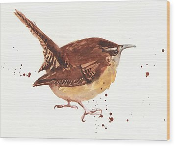Wren - Cheeky Wren Wood Print by Alison Fennell