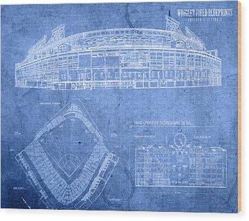 Wrigley Field Chicago Illinois Baseball Stadium Blueprints Wood Print by Design Turnpike