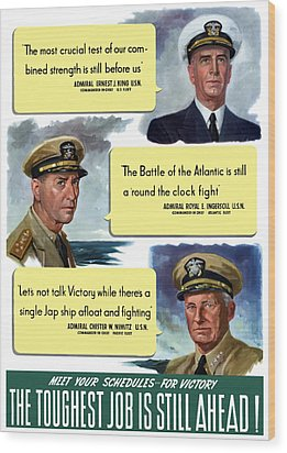Ww2 Us Navy Admirals Wood Print by War Is Hell Store
