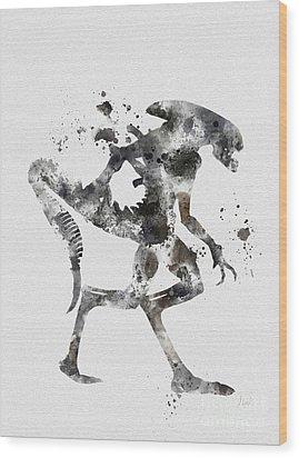 Xenomorph Wood Print by Rebecca Jenkins