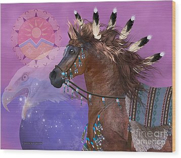 Year Of The Eagle Horse Wood Print by Corey Ford