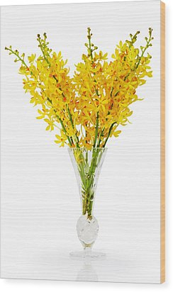 Yellow Orchid In Crystal Vase Wood Print by Atiketta Sangasaeng
