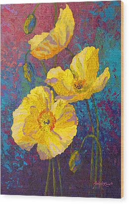 Yellow Poppies Wood Print by Marion Rose