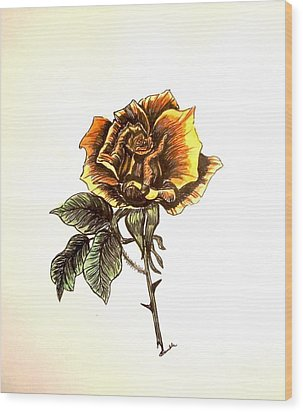 Yellow Rose Wood Print by Nancy Rucker