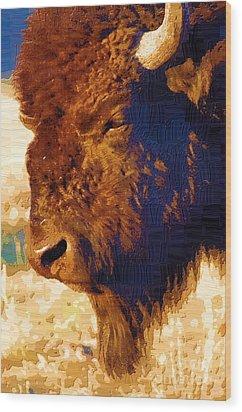 Yellowstone Buffalo Wood Print by Diane E Berry