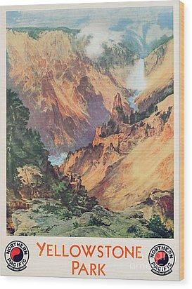 Yellowstone Park Wood Print by Thomas Moran