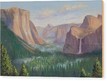 Yosemite Valley Wood Print by Karin  Leonard