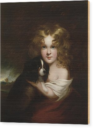 Young Girl With A Dog Wood Print by Margaret Sarah Carpenter