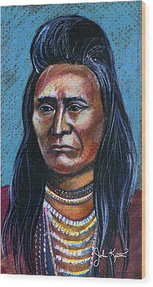 Young Indian Wood Print by John Keaton