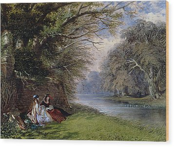 Young Ladies By A River Wood Print by John Edmund Buckley