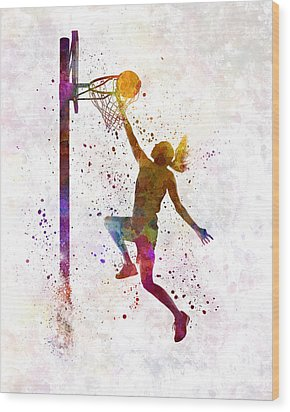 Young Woman Basketball Player 04 In Watercolor Wood Print by Pablo Romero