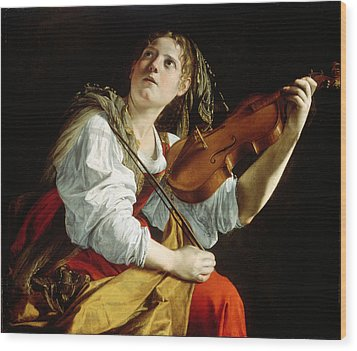 Young Woman With A Violin Wood Print by Orazio Gentileschi