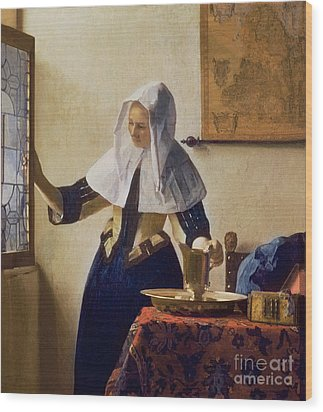 Young Woman With A Water Jug Wood Print by Jan Vermeer