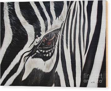 Zebra Eye Wood Print by Ilse Kleyn