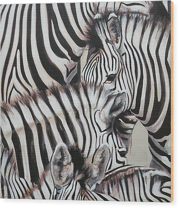 Zebra Triptyche Left Wood Print by Leigh Banks
