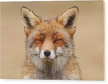 Zen Fox Red Fox Portrait Wood Print by Roeselien Raimond