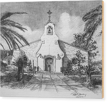 Zephyrhills Catholic Church Wood Print by Rod Varney