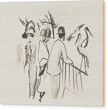 Zoological Garden II Wood Print by August Macke