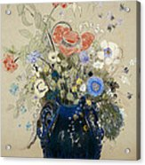 A Vase Of Blue Flowers Acrylic Print by Odilon Redon