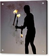 Fire Juggler Acrylic Print by Carl Purcell