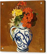 Geraniums And Other Flowers In A Stoneware Vase Acrylic Print by Odilon Redon