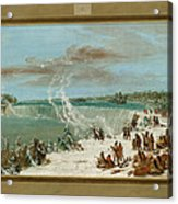 Portage Around The Falls Of Niagara At Table Rock Acrylic Print by George Catlin