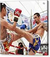 Thai Boxing Match Acrylic Print by Anek Suwannaphoom