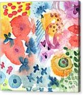 Watercolor Garden Acrylic Print by Linda Woods