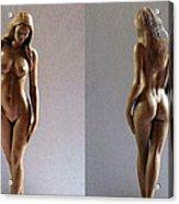 Wood Sculpture Of Naked Woman Acrylic Print by Carlos Baez Barrueto