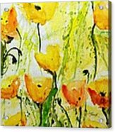 Yellow Poppy 2 - Abstract Floral Painting Acrylic Print by Ismeta Gruenwald